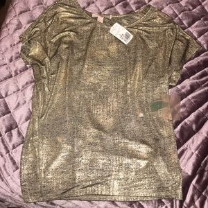 F21 Gold Knit Top Blouse